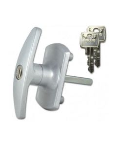 L&F 1613 Garage Door Lock c/w 2 keys 55mm x 8mm Square Spindle Silver Finish Code 10273
