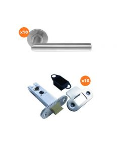 Orbis Straight Mitred Lever On Unsprung 5mm Rose Latch Pack 2 SSS- 10 Lever Sets + 10 No 76mm CE Mortice Latches Radius SSS