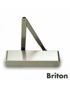 1130B.C.SSS Briton Door Closer Power Size 2-6 c/w Backcheck, Classic Cover & Flat Form Armset Satin Stainless Steel Finish, CE Marked Certifire