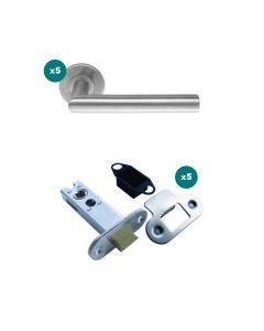 Orbis Straight Mitred Lever On Unsprung 5mm Rose Latch Pack 1 SSS- 5 Lever Sets + 5 No 76mm CE Mortice Latches Radius SSS