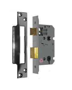 Orbis Mortice Bathroom Lock CE Square Forend 76mm Satin Zinc Plated