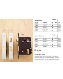 13.852.SSS Orbis Bathroom Lock X-Tension Square End 76mm SSS CE Marked