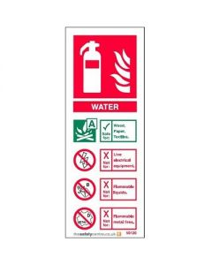 1370.PVC Fire Extinguisher Sign Water 75mm x 200mm