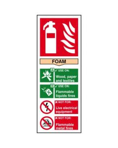 1371.PVC Fire Extinguisher Sign Foam 75mm x 200mm