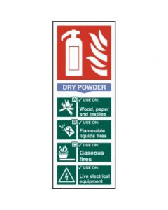 1373.PVC Fire Extinguisher Sign Dry Powder 75mm x 200mm