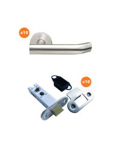 Orbis 900 Elliptical Unsprung Lever On Rose Latch Pack 2 SSS Grade 316- 10 Lever Sets + 10 No 76mm CE Mortice Latches Radius SSS