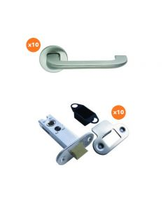 Orbis 800 Flat Top Lever On Sprung Rose Latch Pack 2 SSS Grade 316 - 10 No Lever Sets + 10 No 76mm CE Tubular Mortice Latches Radius SSS