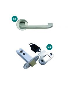 Orbis 800 Flat Top Lever On Sprung Rose Latch Pack 1 SSS Grade 316 -5 No Lever Sets + 5 No 76mm CE Tubular Mortice Latches Radius SSS