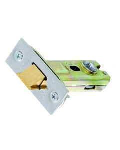 Tubular Mortice Latch CE Square Forend 75mm Satin Stainless Steel