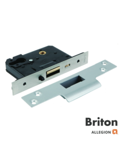 Briton 5250 X Tension Mortice Nightlatch 57mm Backset With Hold Back Function Not CE Marked Satin Stainless Steel Square Forend
