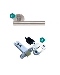 Orbis 600 T Style Lever On Sprung Rose Latch Pack 1 SSS-  5 No Lever Sets + 5 No 76mm CE Mortice Latches Radius SSS