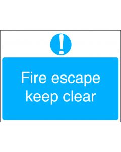 Orbis Fire Escape Keep Clear Sign - Screw Fixed