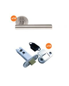 Orbis 600 T Style Lever On Sprung Rose Latch Pack 2 SSS-  10 No Lever Sets + 10 No 76mm CE Mortice Latches Radius SSS