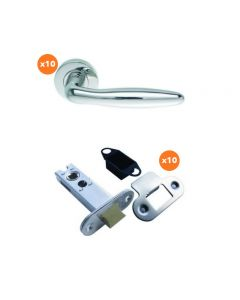 Orbis 800 Cigar Lever On Sprung Rose Latch Pack 2 SSS-  10 No Lever Sets + 10 No 76mm CE Mortice Latches Radius SSS