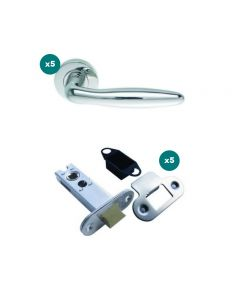 Orbis 800 Cigar Lever On Sprung Rose Latch Pack 1 SSS-  5 No Lever Sets + 5 No 76mm CE Mortice Latches Radius SSS