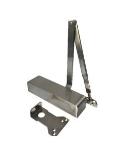 9024.Silver Adjustable Power Size 2-4 Door Closer c/w Backcheck & Delayed Action With Adjustable Closing & Latching Speed, Certified To EN1154 & Fire Tested To EN1634