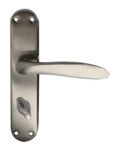 Kappa Lever Bathroom Handles On Backplate Satin Nickel Finish c/w Pre Fitted Thumbturn & Release