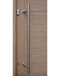 Karcher Design ES3G 1800mm Long (1500mm Centres) T-Shaped Cranked Bolt-Fix Pull Handle 45 Degree Offset Satin Stainless Steel