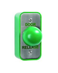 Orbis Architrave Stainless Steel + Large Green Dome Button