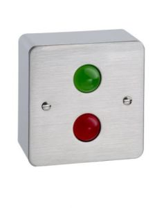 TLM200 Surface Mounted Metal Traffic Light Indicator Box Input Voltage 12-24vdc Satin Stainless Box
