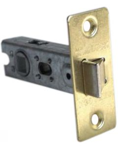 Tubular Mortice Latch 75mm Electro Brass Finish Fixed Forend c/w Bolt Through Fixings